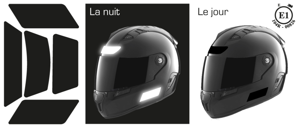 KIT STICKERS DE CASQUE RETRO NOIR